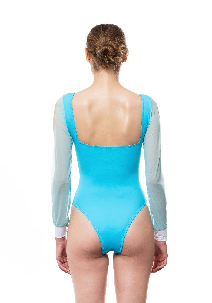 Back view of the Nuvola Swimsuit Ludovica Gualtieri Milano color Pale blue and White made with ECONYLu00ae regenerated nylon