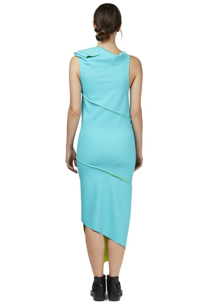 Back view of the Twist Dress Green Malaika New York made with ECONYLu00ae regenerated nylon