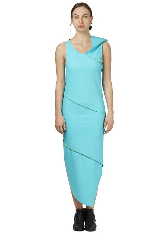 Front view of the Twist Dress Green Malaika New York made with ECONYLu00ae regenerated nylon