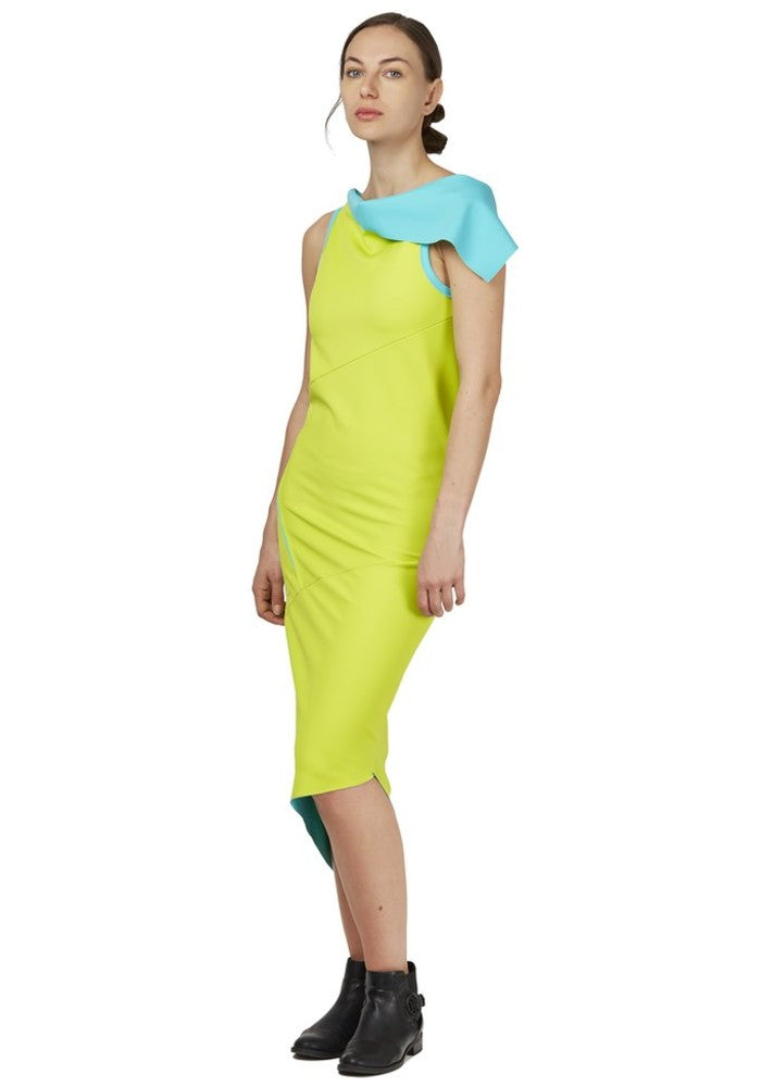 Side view of the reversible Twist Dress Green Malaika New York made with ECONYLu00ae regenerated nylon