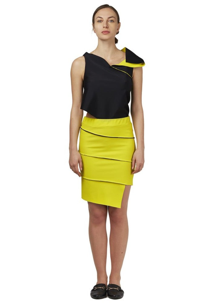 Front view of the Twist Pencil Skirt Malaika New York color Yellow / Black made with ECONYLu00ae regenerated nylon