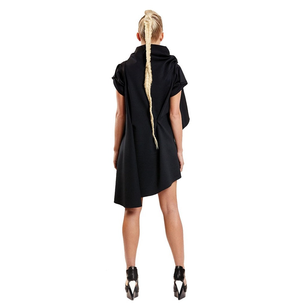 Back view of the Zero Dress Malaika New York color Black made with ECONYLu00ae regenerated nylon