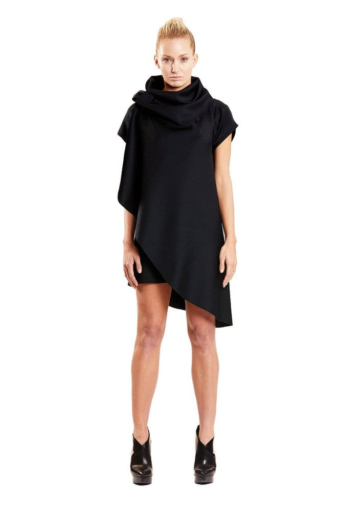 Front view of the Zero Dress Malaika New York color Black made with ECONYLu00ae regenerated nylon