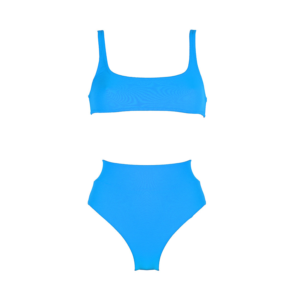 Front view of the Antigua (Rainbow Collection) Bikini Mermazing color Pale blue made with ECONYLu00ae regenerated nylon