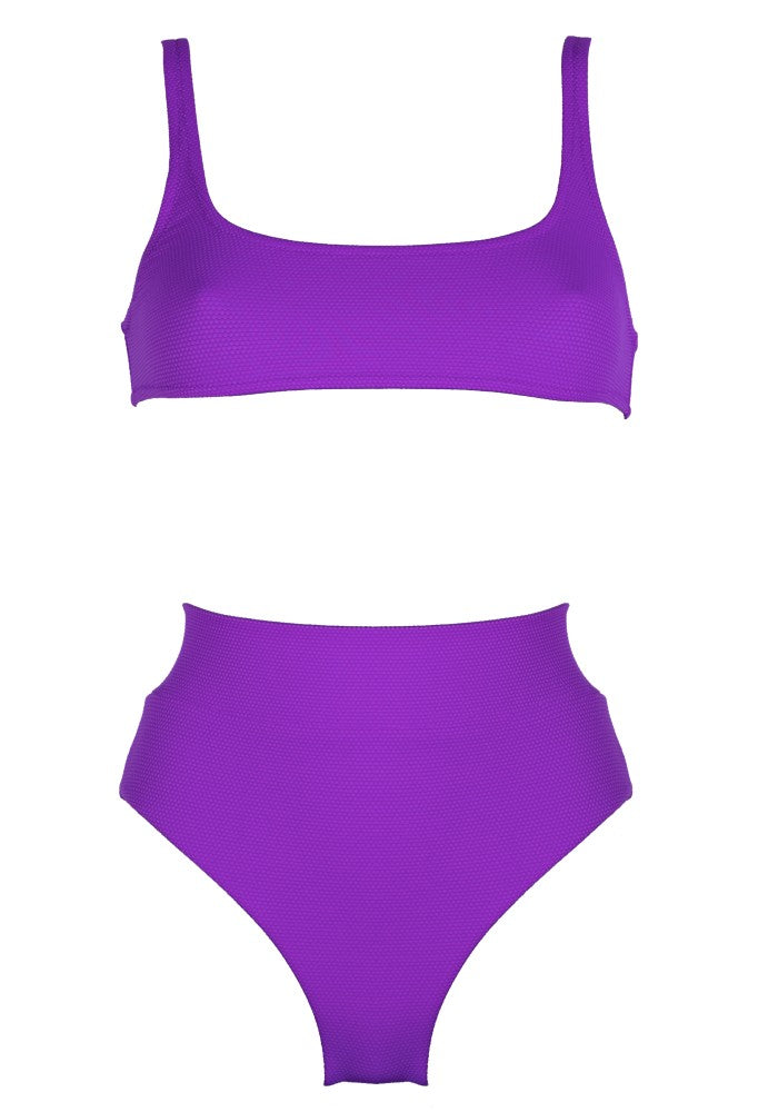 Front view of the Antigua (Rainbow Collection) Bikini Mermazing color Purple made with ECONYLu00ae regenerated nylon
