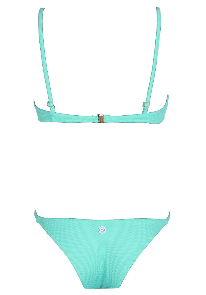 Back view of the Bahamas (Rainbow Collection) Bikini Mermazing color Mint green made with ECONYLu00ae regenerated nylon