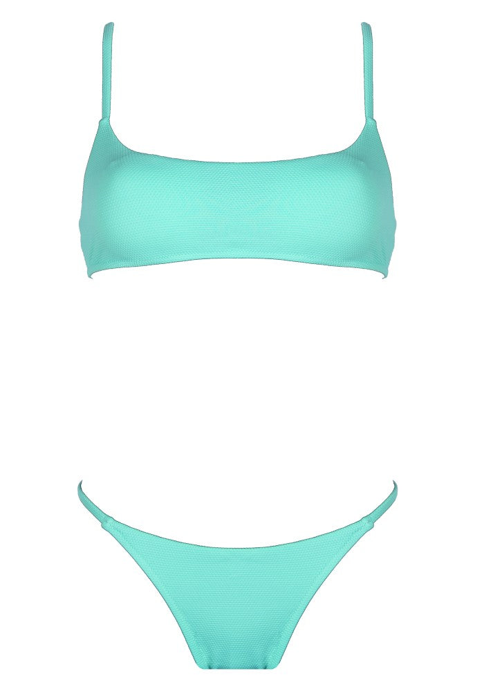 Front view of the Bahamas (Rainbow Collection) Bikini Mermazing color Mint green made with ECONYLu00ae regenerated nylon