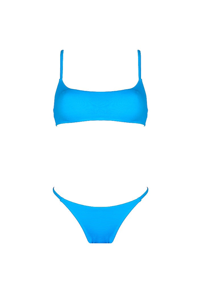 Front view of the Bahamas (Rainbow Collection) Bikini Mermazing color Pale blue made with ECONYLu00ae regenerated nylon