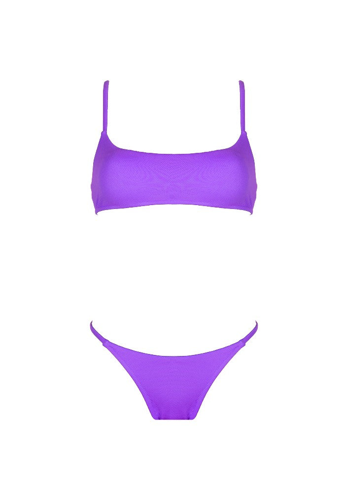 Front view of the Bahamas (Rainbow Collection) Bikini Mermazing color Purple made with ECONYLu00ae regenerated nylon