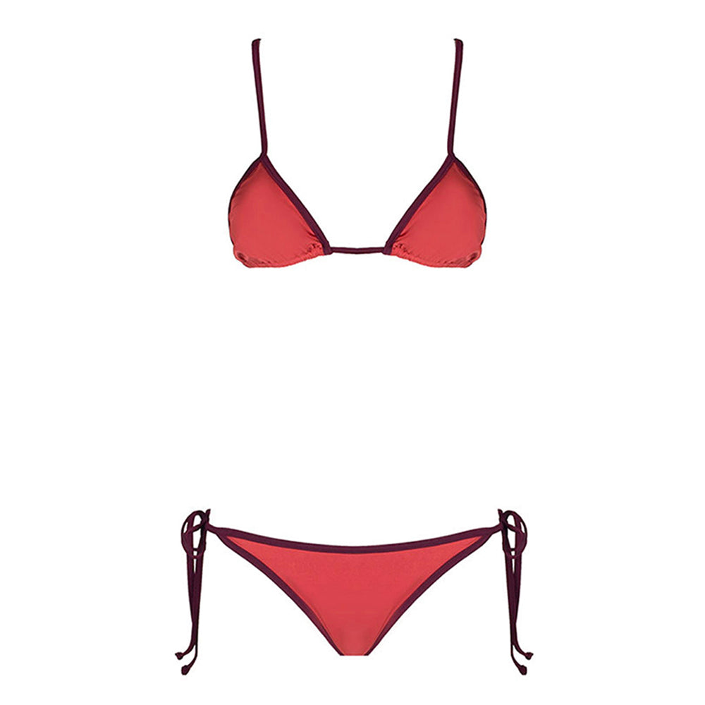 Front view of the Elisea (Wonder Collection) Bikini Mermazing color Antique pink and Burgundy made with ECONYLu00ae regenerated nylon