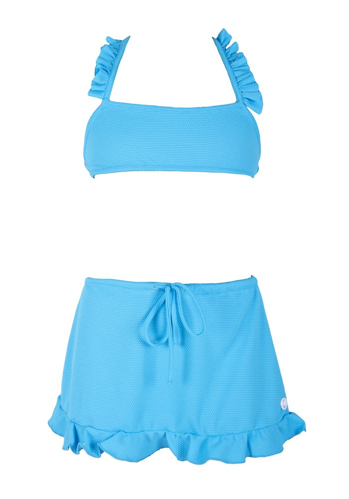 Aurora Skirt (Rainbow Baby Collection) Bikini Mermazing color Pale Blue made with ECONYLu00ae regenerated nylon outfit