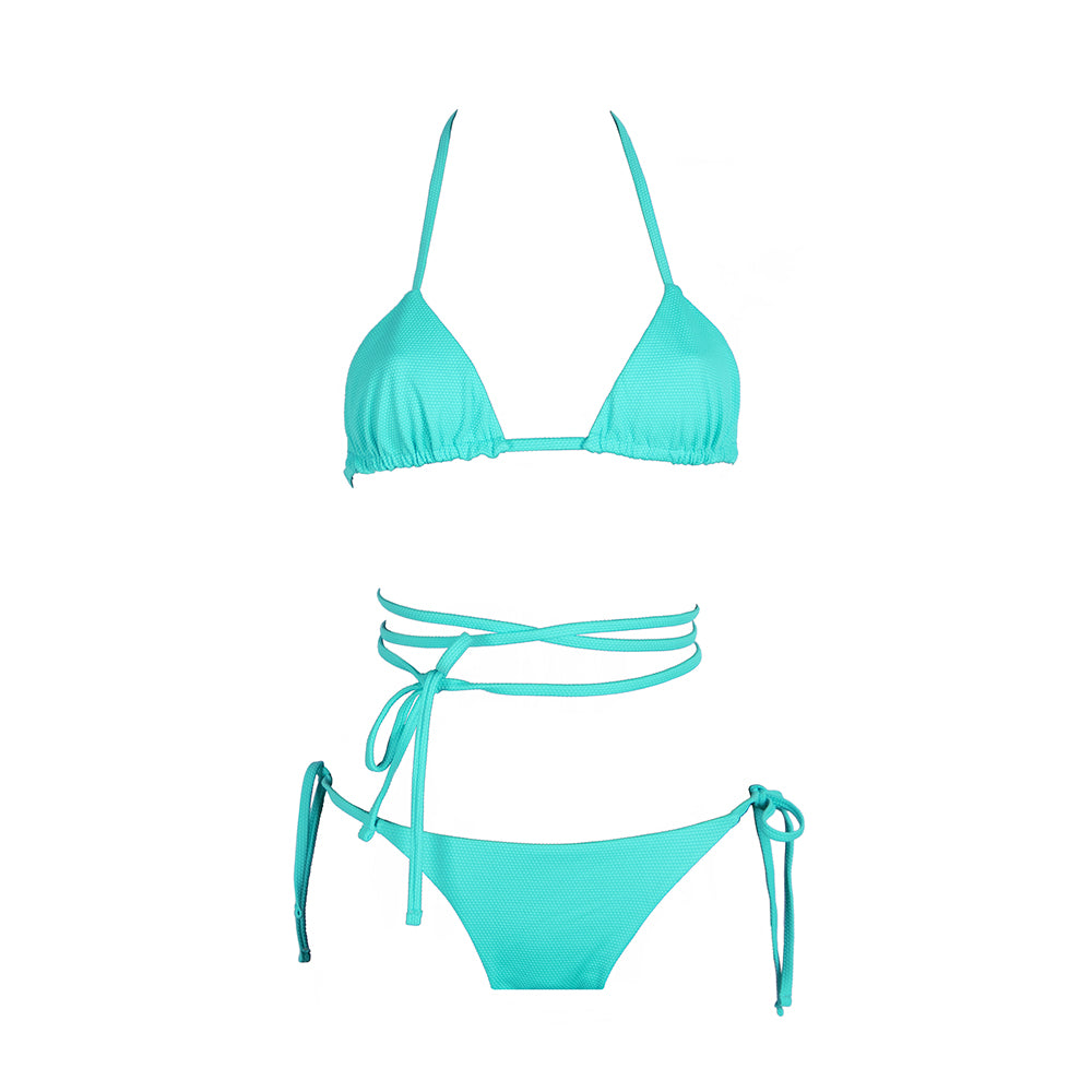 Front view of the Tahiti (Rainbow Collection) Bikini Mermazing color Mint green made with ECONYLu00ae regenerated nylon