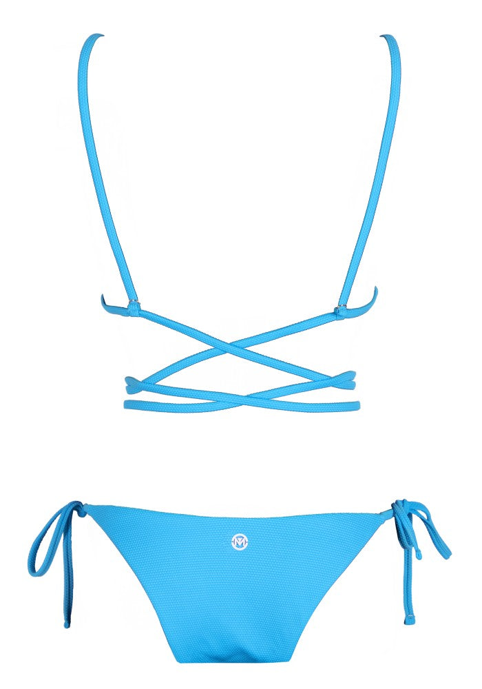 Back view of the Tahiti (Rainbow Collection) Bikini Mermazing color Pale blue made with ECONYLu00ae regenerated nylon