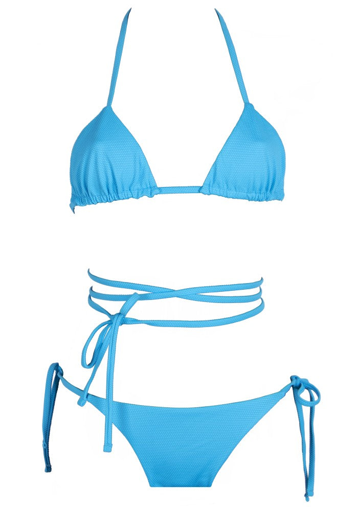 Front view of the Tahiti (Rainbow Collection) Bikini Mermazing color Pale blue made with ECONYLu00ae regenerated nylon
