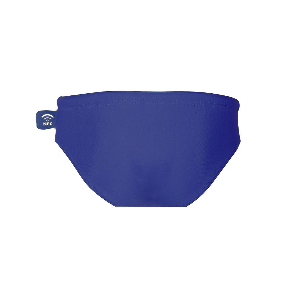 Back view of the Children's Swim Brief Mermazing color Blue made with ECONYLu00ae regenerated nylon