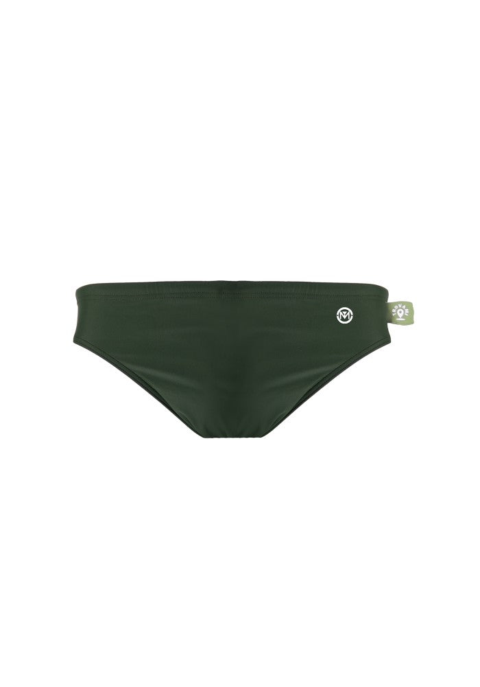 Front view of the Children's Swim Brief Mermazing color Dark green made with ECONYLu00ae regenerated nylon
