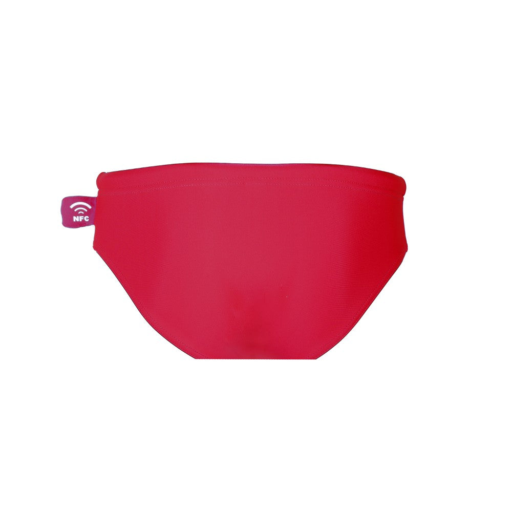 Back view of the Children's Swim Brief Mermazing color Red made with ECONYLu00ae regenerated nylon