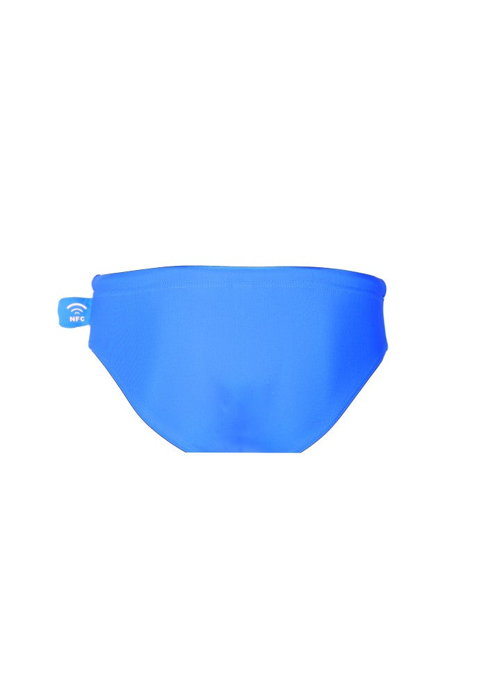 Back view of the Children's Swim Brief Mermazing color Pale blue made with ECONYLu00ae regenerated nylon