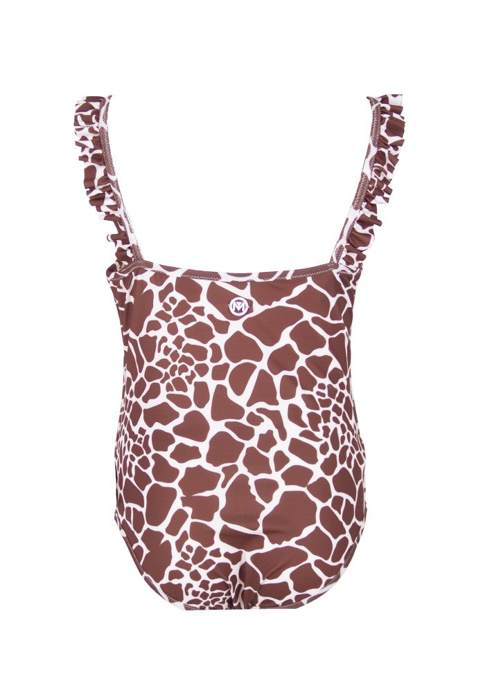 Back view of the Asia (Jungle Baby Collection) Swimsuit Mermazing pattern Giraffe made with ECONYLu00ae regenerated nylon