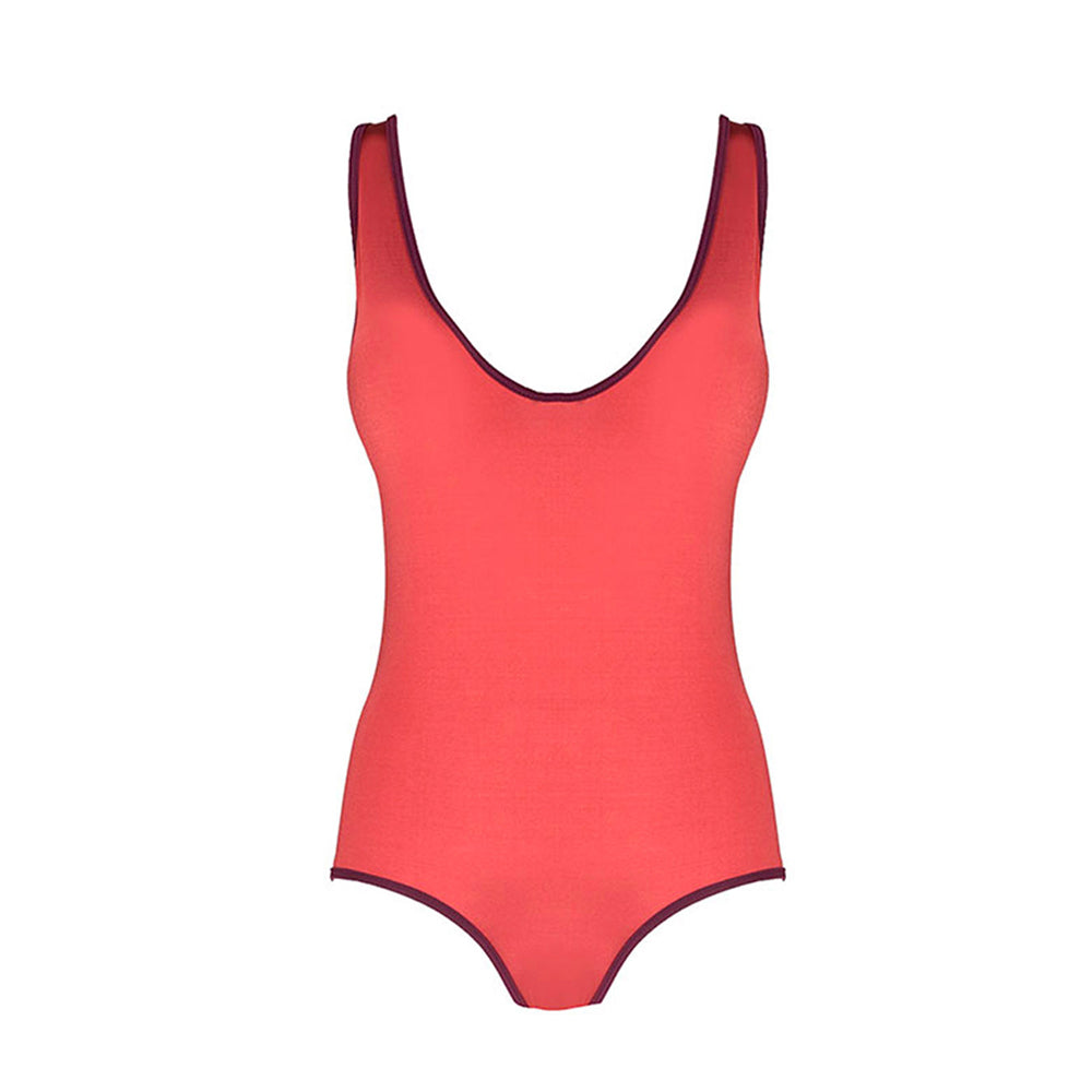 Front view of the Diana (Wonder Collection) Swimsuit Mermazing color Antique pink and Burgundy made with ECONYLu00ae regenerated nylon