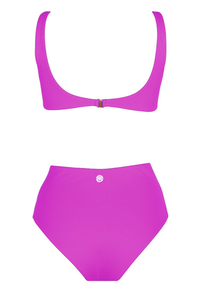 Back view of the Hawaii (Rainbow Collection) Swimsuit Mermazing color Fuchsia made with ECONYLu00ae regenerated nylon