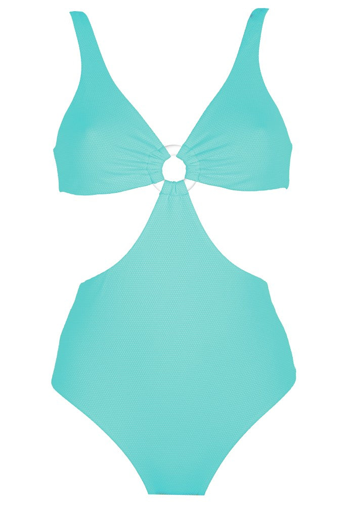 Front view of the Hawaii (Rainbow Collection) Swimsuit Mermazing color Mint green made with ECONYLu00ae regenerated nylon