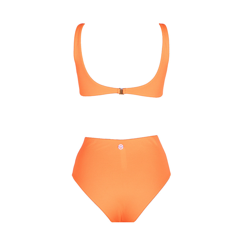 Back view of the Hawaii (Rainbow Collection) Swimsuit Mermazing color Orange made with ECONYLu00ae regenerated nylon