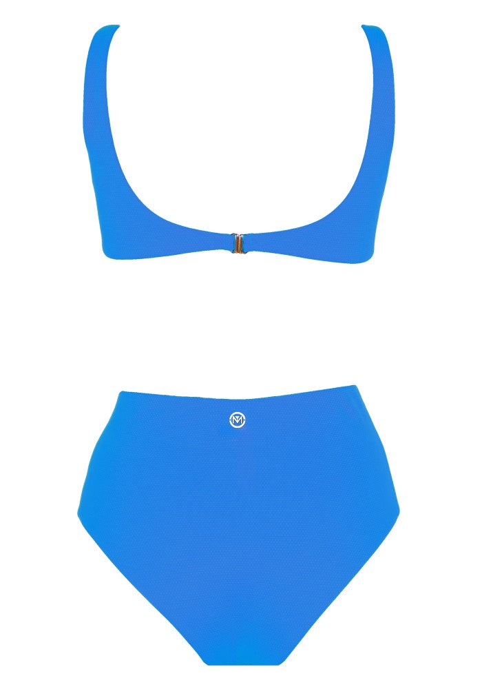 Back view of the Hawaii (Rainbow Collection) Swimsuit Mermazing color Pale blue made with ECONYLu00ae regenerated nylon