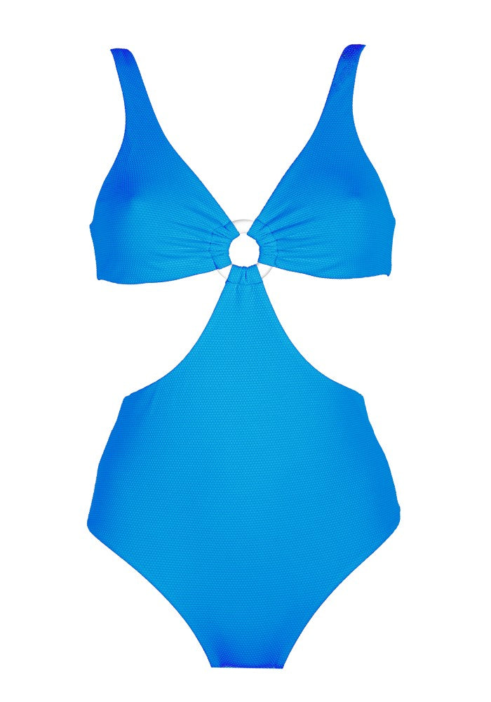 Front view of the Hawaii (Rainbow Collection) Swimsuit Mermazing color Pale blue made with ECONYLu00ae regenerated nylon
