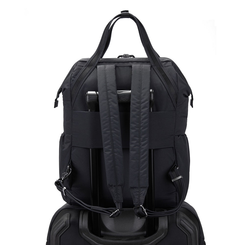 Back view of the Pacsafe Citysafe CX Anti-Theft Backpack color Black made with ECONYLu00ae regenerated nylon on a luggage