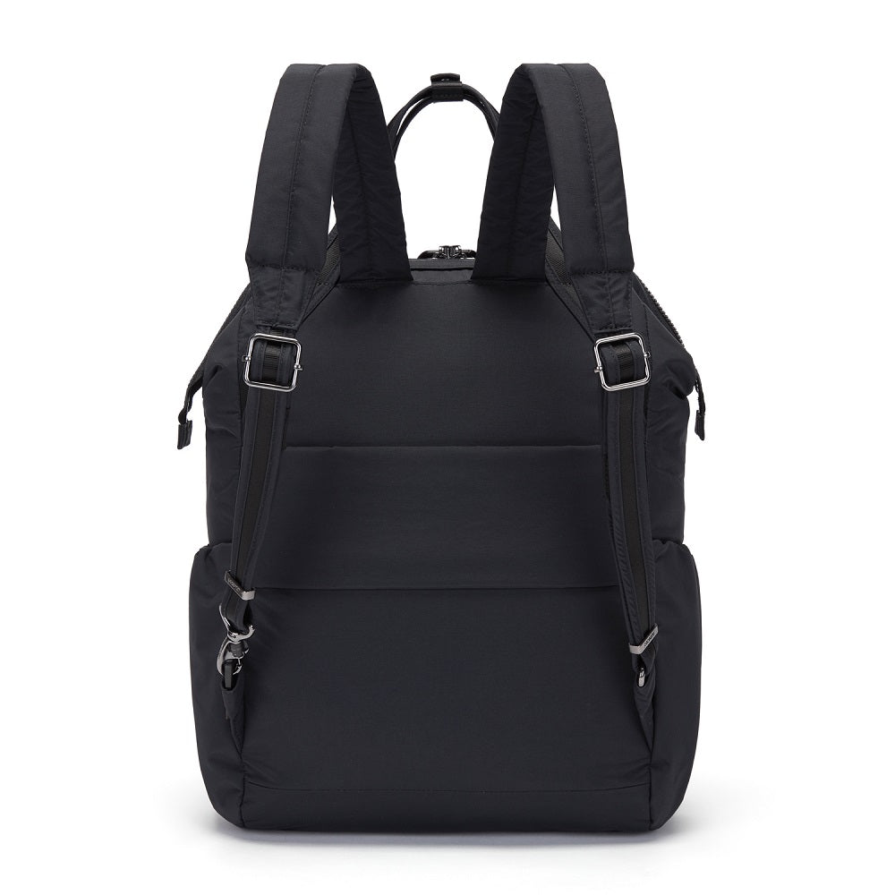 Back view of the Pacsafe Citysafe CX Anti-Theft Backpack color Black made with ECONYLu00ae regenerated nylon