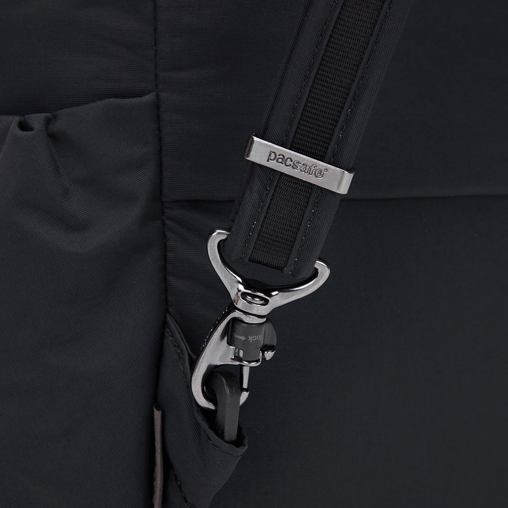 Detail of the Pacsafe Citysafe CX Anti-Theft Backpack color Black made with ECONYLu00ae regenerated nylon