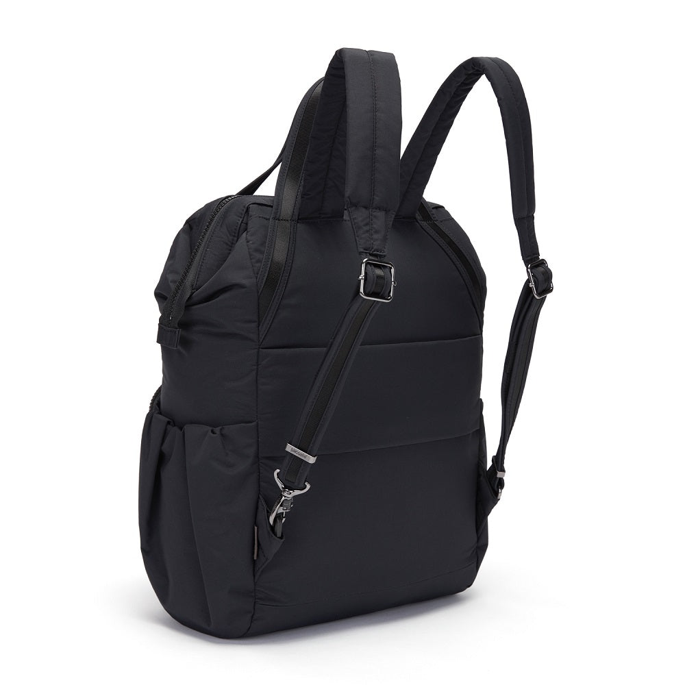 Back side view of the Pacsafe Citysafe CX Anti-Theft Backpack color Black made with ECONYLu00ae regenerated nylon