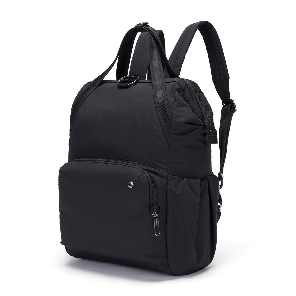 Side view of the Pacsafe Citysafe CX Anti-Theft Backpack color Black made with ECONYLu00ae regenerated nylon