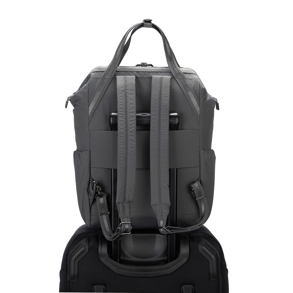 Back view of the Pacsafe Citysafe CX Anti-Theft Backpack color Storm made with ECONYLu00ae regenerated nylon on a luggage