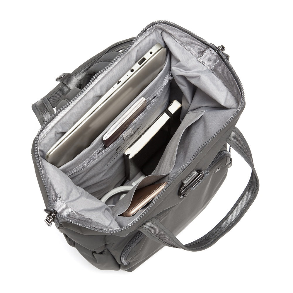Inside view of the Pacsafe Citysafe CX Anti-Theft Backpack color Storm made with ECONYLu00ae regenerated nylon