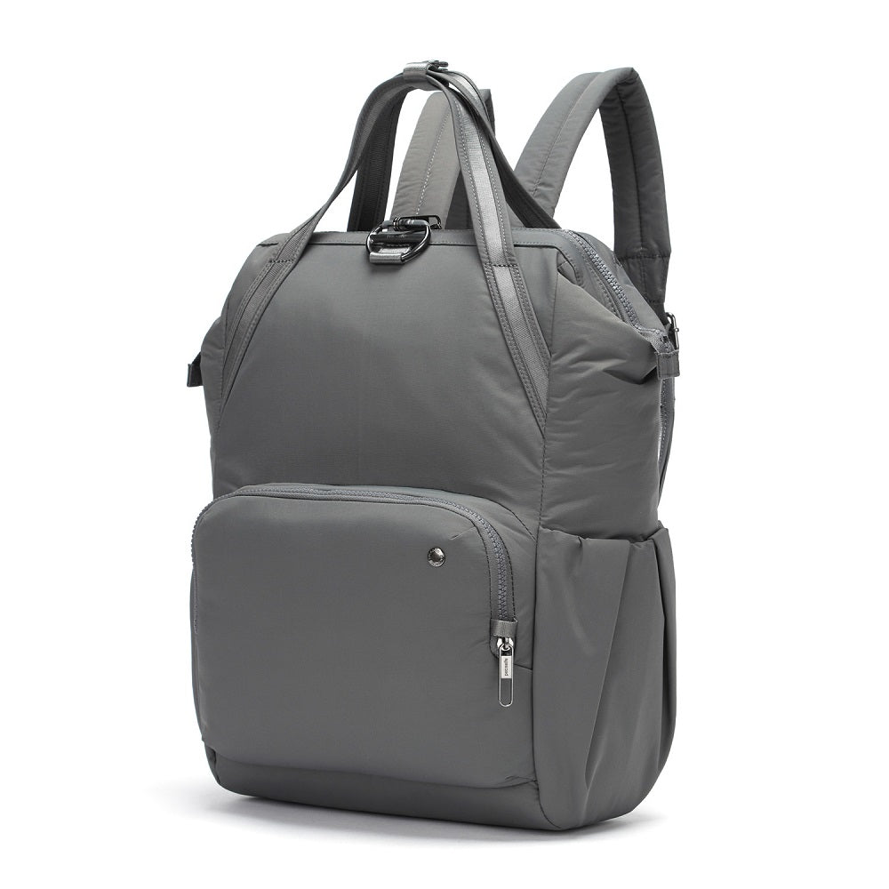 Side view of the Pacsafe Citysafe CX Anti-Theft Backpack color Storm made with ECONYLu00ae regenerated nylon