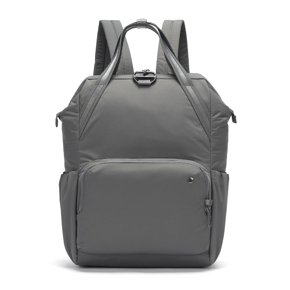 Front view of the Pacsafe Citysafe CX Anti-Theft Backpack color Storm made with ECONYLu00ae regenerated nylon