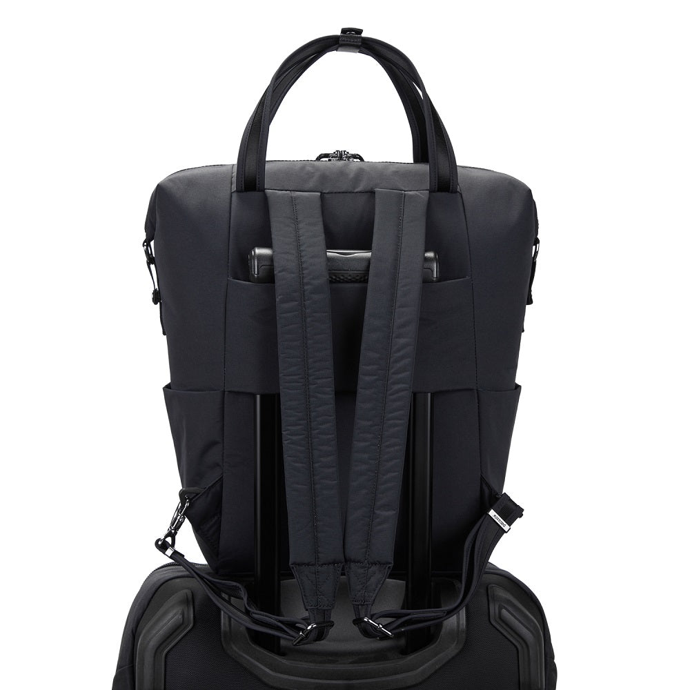 Back view of the Pacsafe Citysafe CX Anti-Theft Backpack Tote color Black made with ECONYLu00ae regenerated nylon on a luggage