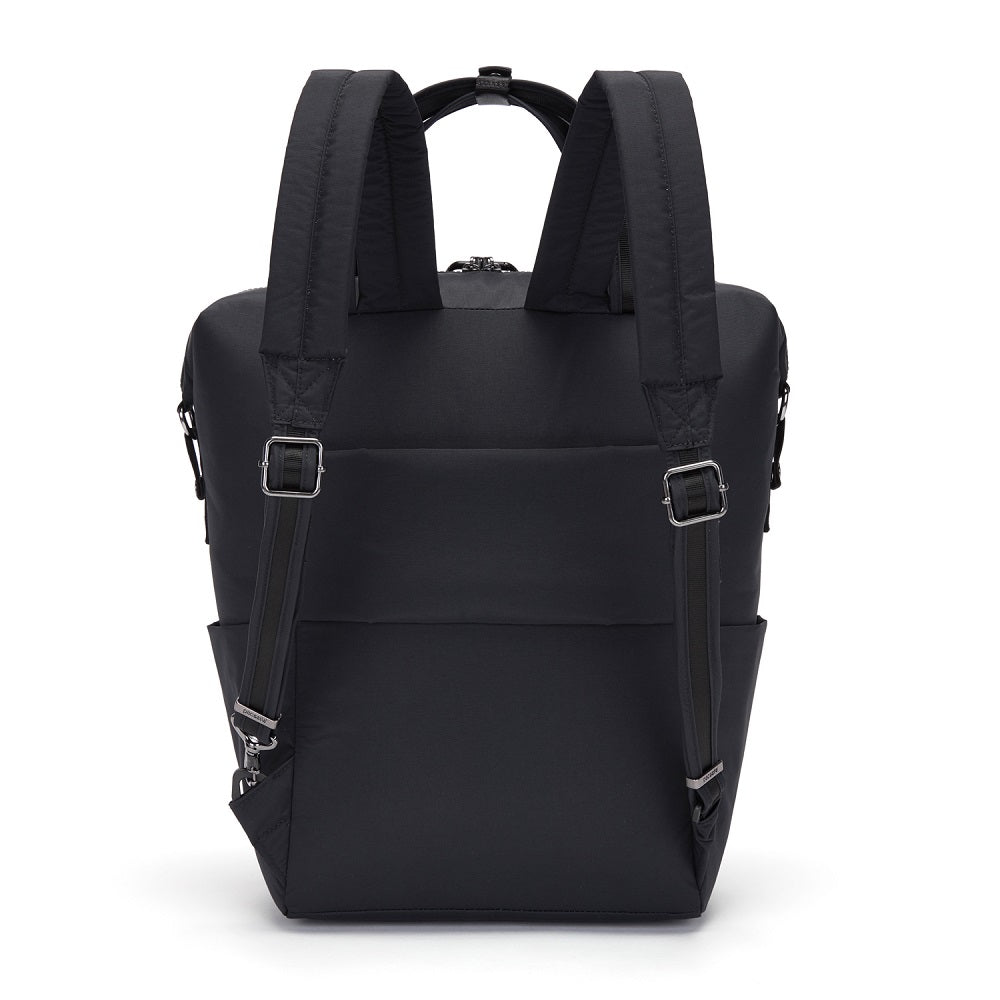 Back view of the Pacsafe Citysafe CX Anti-Theft Backpack Tote color Black made with ECONYLu00ae regenerated nylon
