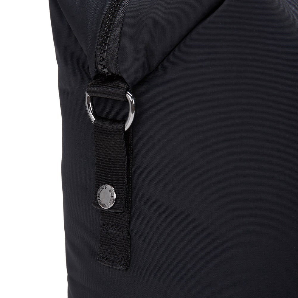 Detail of the Pacsafe Citysafe CX Anti-Theft Backpack Tote color Black made with ECONYLu00ae regenerated nylon