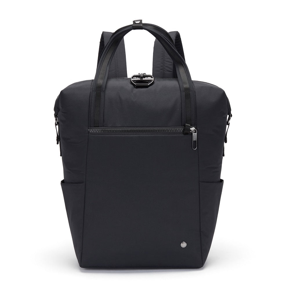 Front view of the Pacsafe Citysafe CX Anti-Theft Backpack Tote color Black made with ECONYLu00ae regenerated nylon