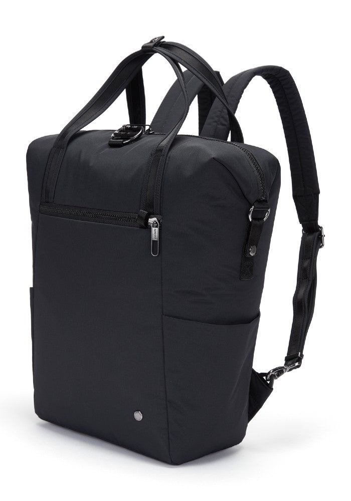 Side view of the Pacsafe Citysafe CX Anti-Theft Backpack Tote color Black made with ECONYLu00ae regenerated nylon