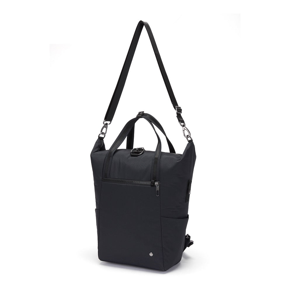 Pacsafe Citysafe CX Anti-Theft Backpack Tote color Black made with ECONYLu00ae regenerated nylon