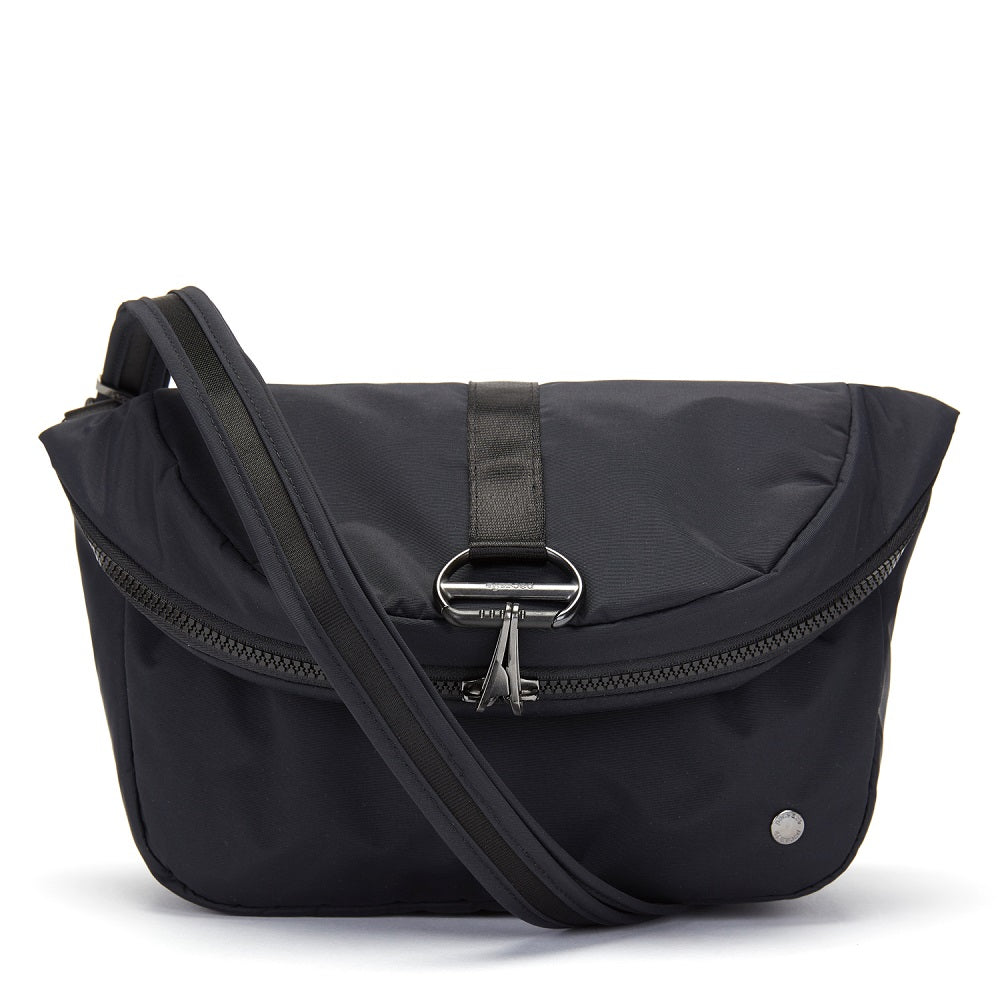 Pacsafe Citysafe CX Anti-Theft Convertible Backpack color Black made with ECONYLu00ae regenerated nylon as a handbag