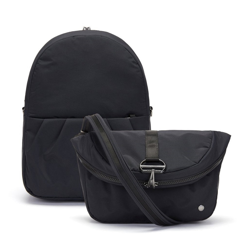 Pacsafe Citysafe CX Anti-Theft Convertible Backpack color Black made with ECONYLu00ae regenerated nylon converted