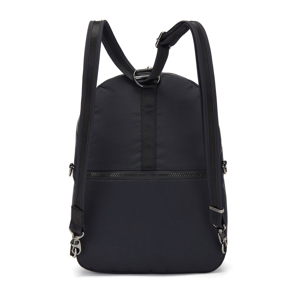 Back view of the Pacsafe Citysafe CX Anti-Theft Convertible Backpack color Black made with ECONYLu00ae regenerated nylon