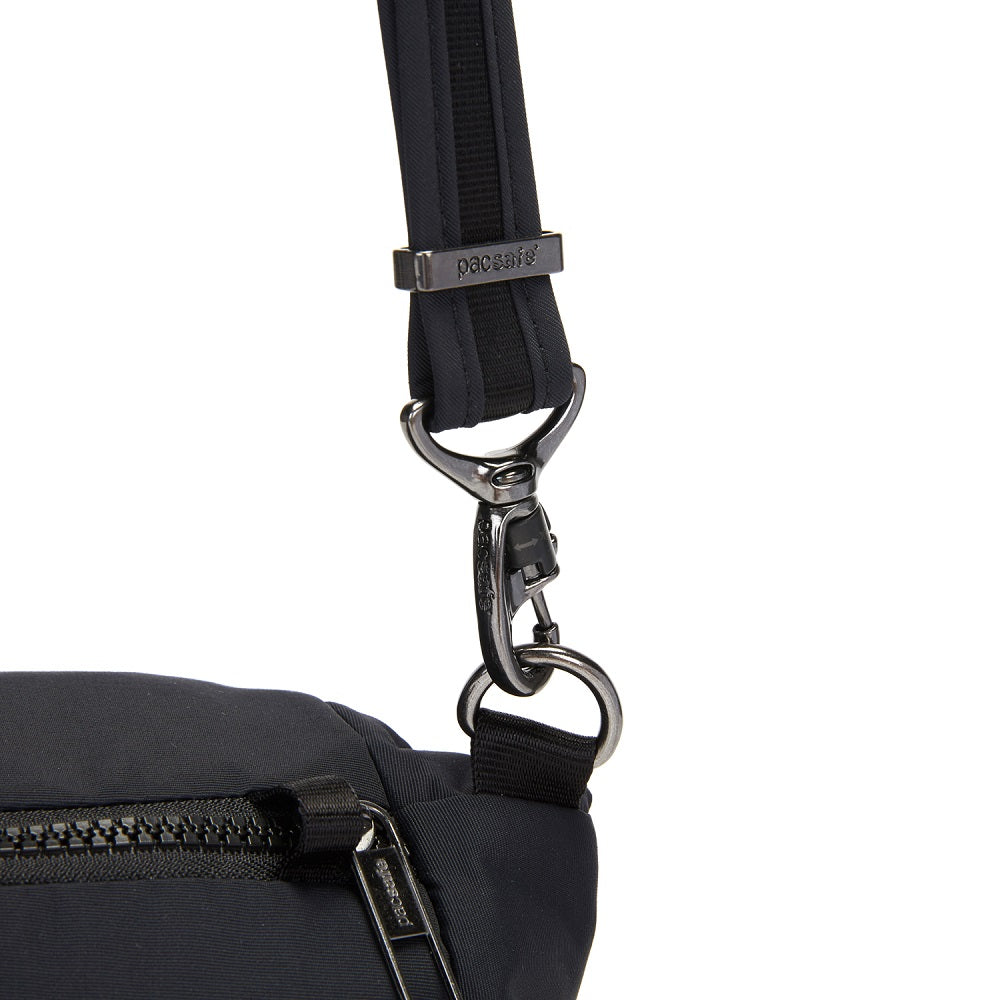 Detail of the Pacsafe Citysafe CX Anti-Theft Convertible Backpack color Black made with ECONYLu00ae regenerated nylon