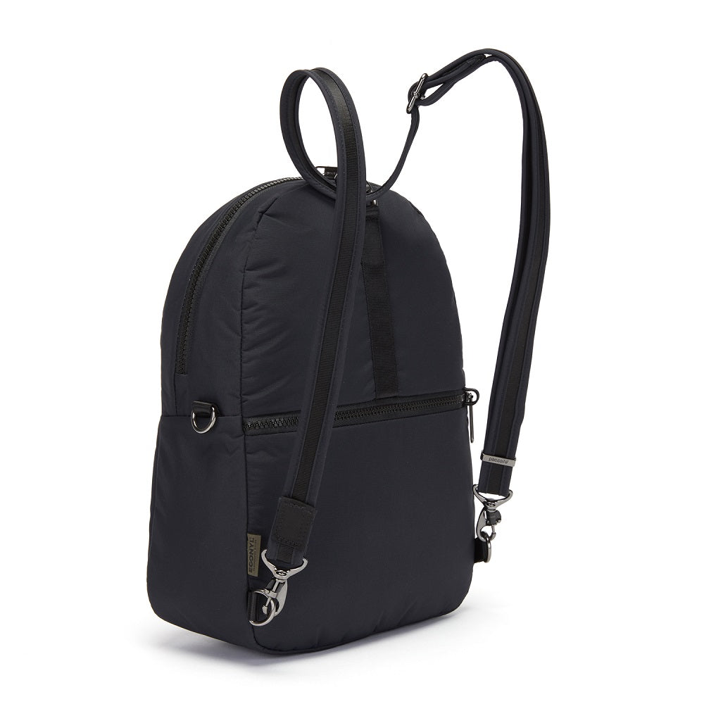 Back side view of the Pacsafe Citysafe CX Anti-Theft Convertible Backpack color Black made with ECONYLu00ae regenerated nylon