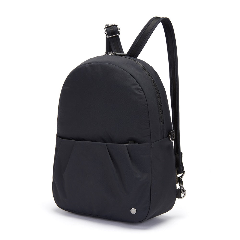 Side view of the Pacsafe Citysafe CX Anti-Theft Convertible Backpack color Black made with ECONYLu00ae regenerated nylon